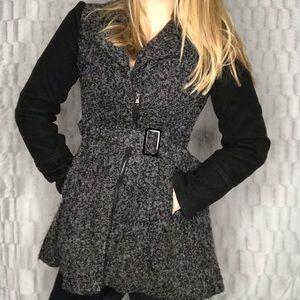 Blue Rain Wool Peplum Waist Zip Front Trench Coat